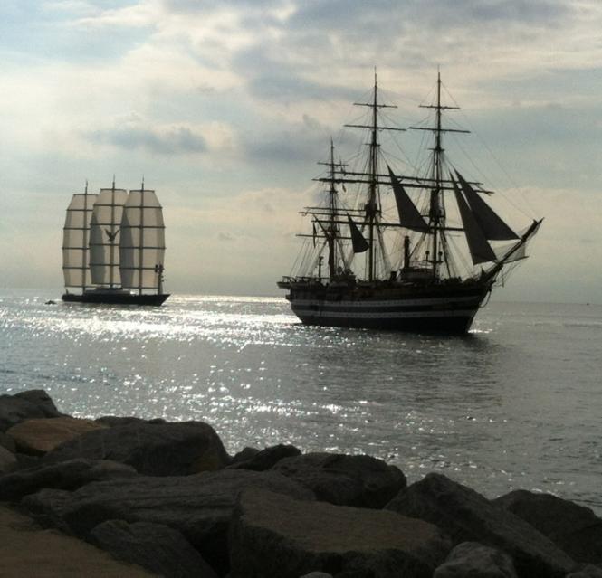 Perini Navi Charter Yacht Maltese Falcon And The Historical Tall Ship Amerigo Vespucci Tall Ships Sailing Yacht