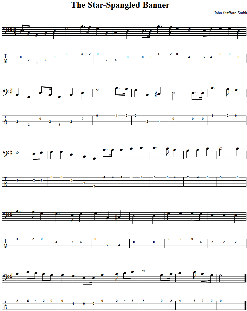 The Star Spangled Banner Bass Guitar Tab