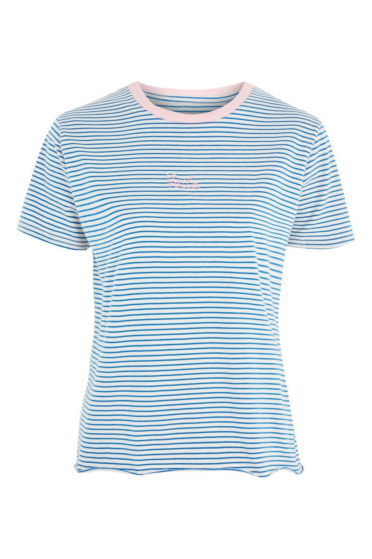 cf2c13117b PETITE Stripe 'Voila' Motif T-Shirt | Blusas | Striped tee, Topshop ...