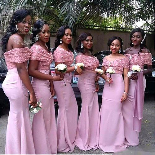 23feaea8ad585 Dirty Pink Lace Mermaid African Bridesmaid Dresses 2017 Off Shoulder ...