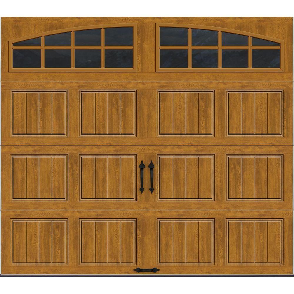 Clopay Gallery Collection 8 Ft X 7 Ft 6 5 R Value Insulated Ultra Grain Medium Garage Door With Arch Window Gr1sp Mo Grla1 Oak Garage Doors Garage Doors Garage Door Design