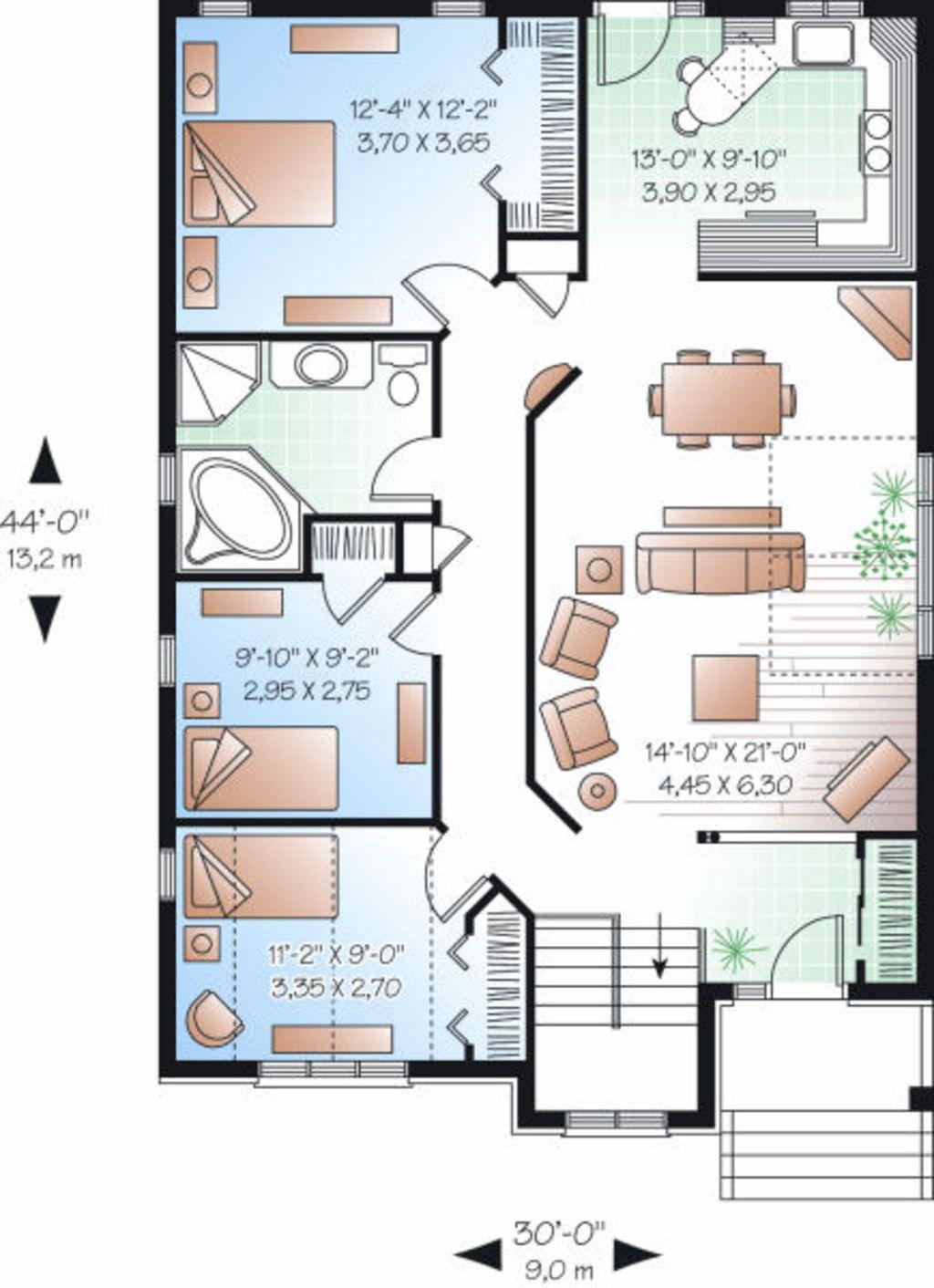 Traditional Style House Plan 3 Beds 1 Baths 1253 Sq Ft Plan 23 796 Projetos De Casas Geminadas Projetos De Casas Pequenas Projetos De Casas Terreas