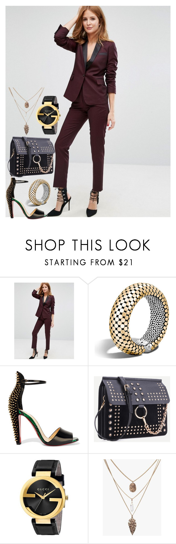 """""""After Work"""" by shirley-de-gannes ❤ liked on Polyvore featuring Millie Mackintosh, John Hardy, Christian Louboutin and Gucci"""