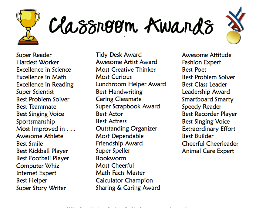 Classroom Theme Ideas List : Classroom awards for even the most challenging students