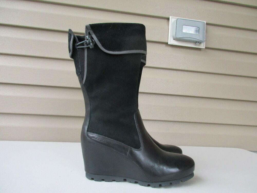 3d7c27bd0d5 New Merrell Wedge Women s Black Boots US 8.5 Leather suede  Merrell   WedgeBoot
