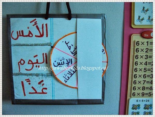 Jawaher Kids Amp Nisaa نشاط تعليم أيام الأسبوع رياض الأطفال و الصف الأول Learning Arabic Arabic Kids Learning Poster