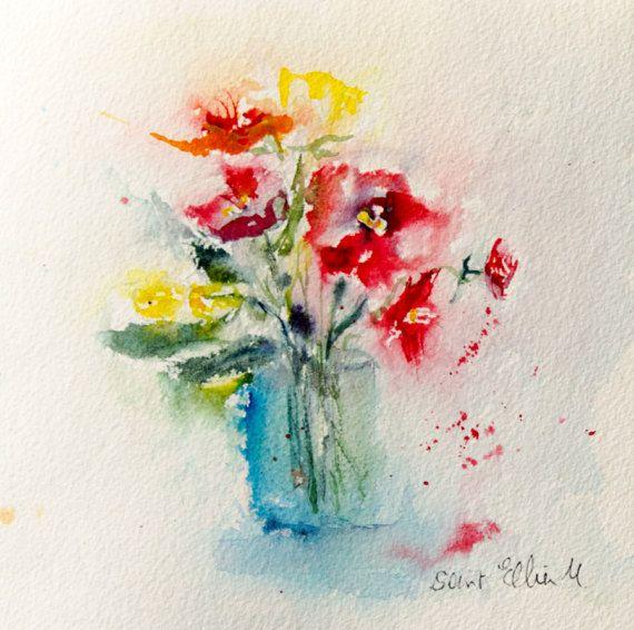 Aquarelle Originale De Bouquet De Fleurs Jaune Et Rouge