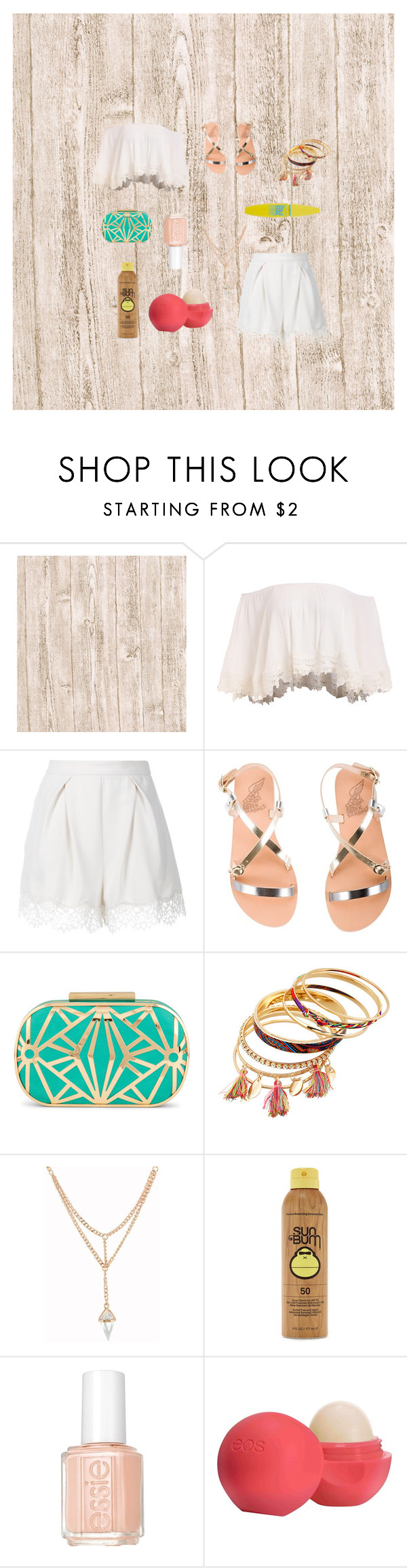 """Summer outfit"" by jadaramseyy on Polyvore featuring Zimmermann, Ancient Greek Sandals, ALDO, Forever 21, Essie, Eos and Maybelline"