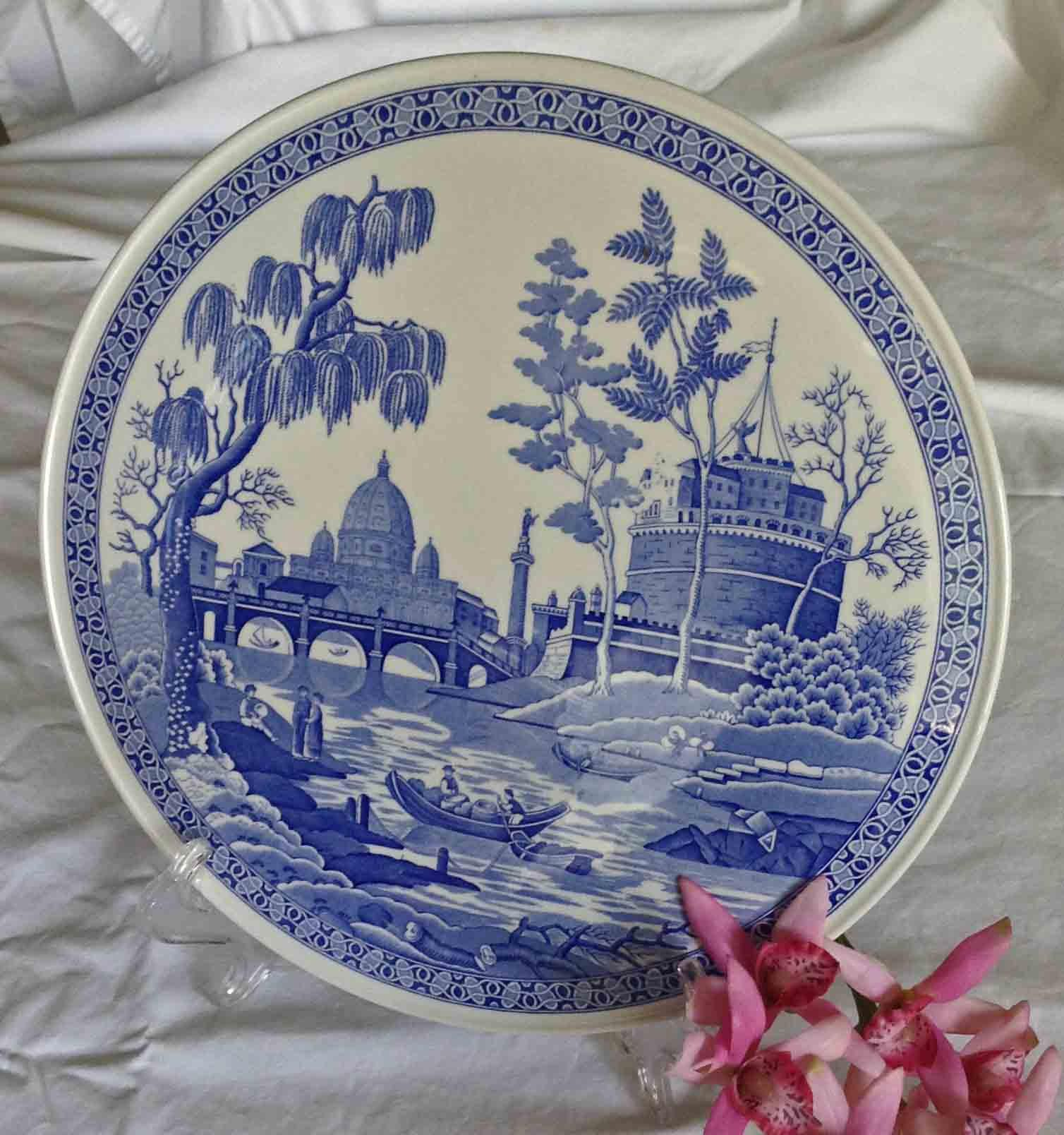 Spode Blue Room Collection Rome Low Cake Stand Spode Cake