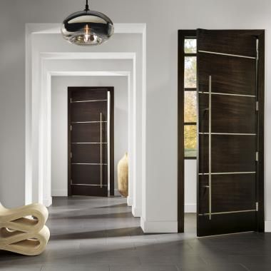 Tmir6080 Doors In Mahogany With Espresso Stain And 1 2 Bright Stainless Steel Inlay Custom Interior Doors Modern Door Doors Interior Modern
