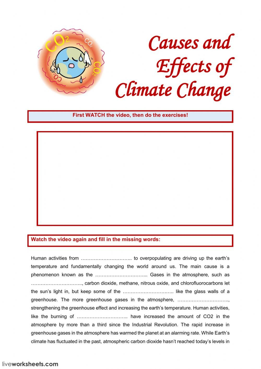 Listening Comprehension Interactive And Downloadable Worksheet You Can Do The Ex Climate Change Effects Climate Change Activities English As A Second Language [ 1413 x 1000 Pixel ]