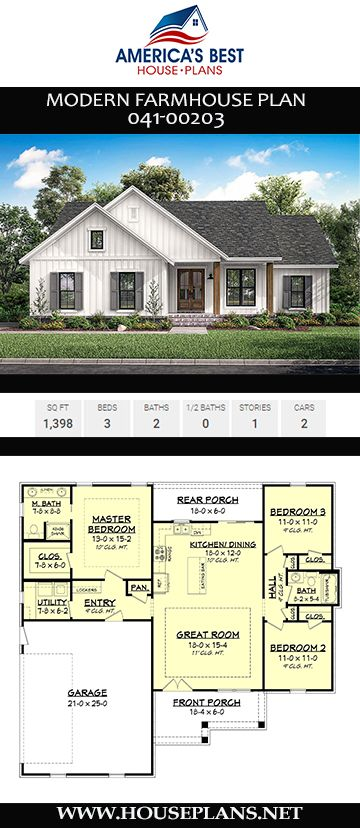 House Plan 041-00203 - Modern Farmhouse Plan: 1,398 Square Feet, 3 Bedrooms, 2 Bathrooms
