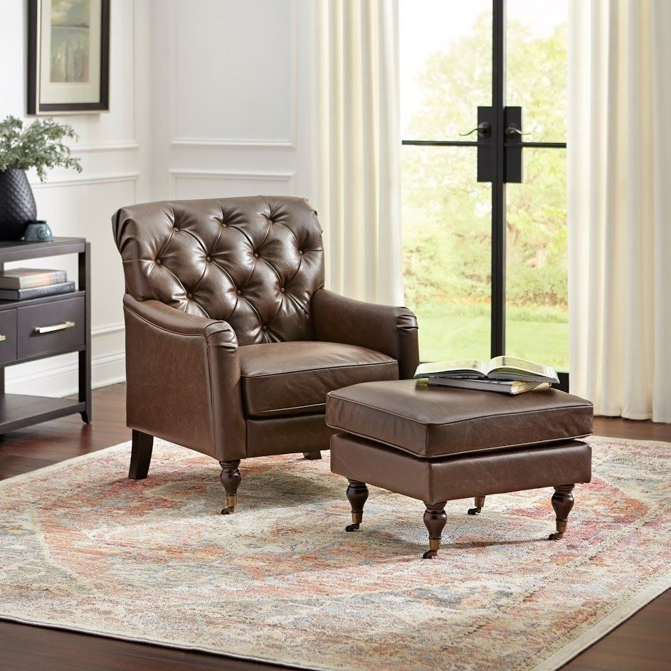 Martin Chair And Ottoman Set Brown Simple Living Faux Leather