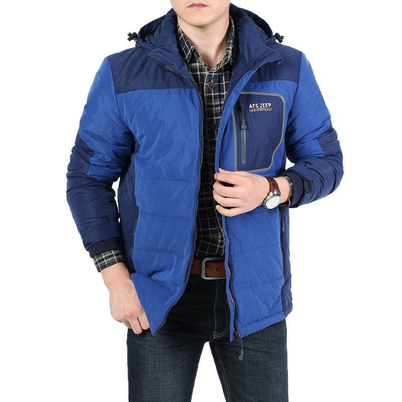 Men's Winter Warm Cotton Coat Jackets AFS Jeep Outdoor Thick Hooded Vintage Style