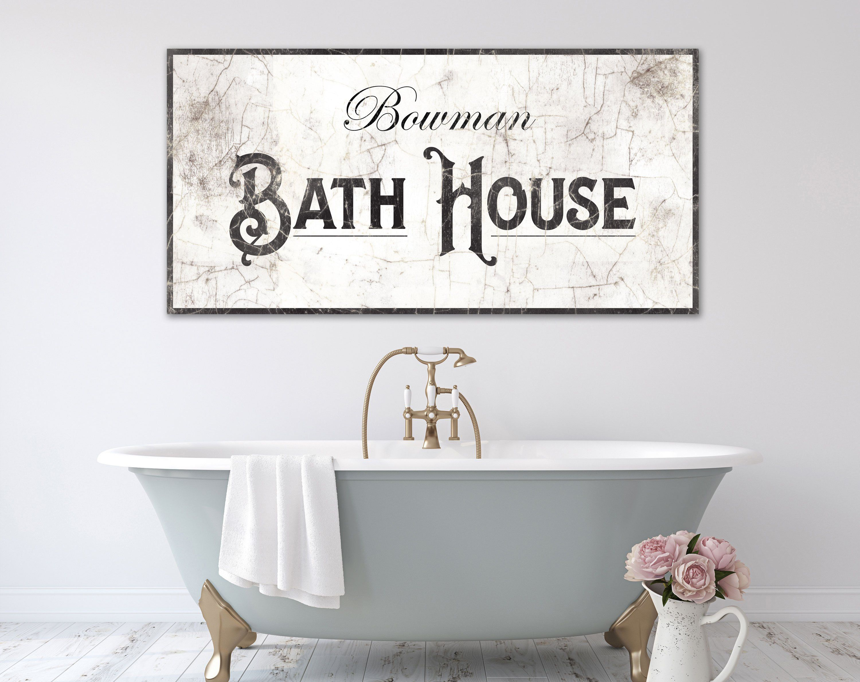 Personalized Bath House Sign Vintage Farmhouse Bathroom Wall