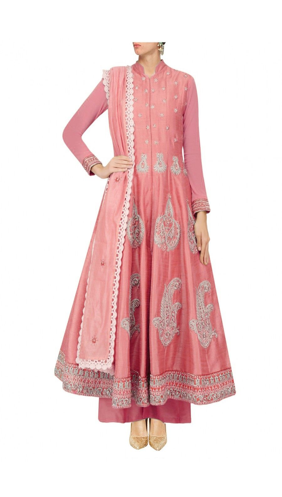 Onion pink silk anarkali with palazoes and pink chanderi dupatta