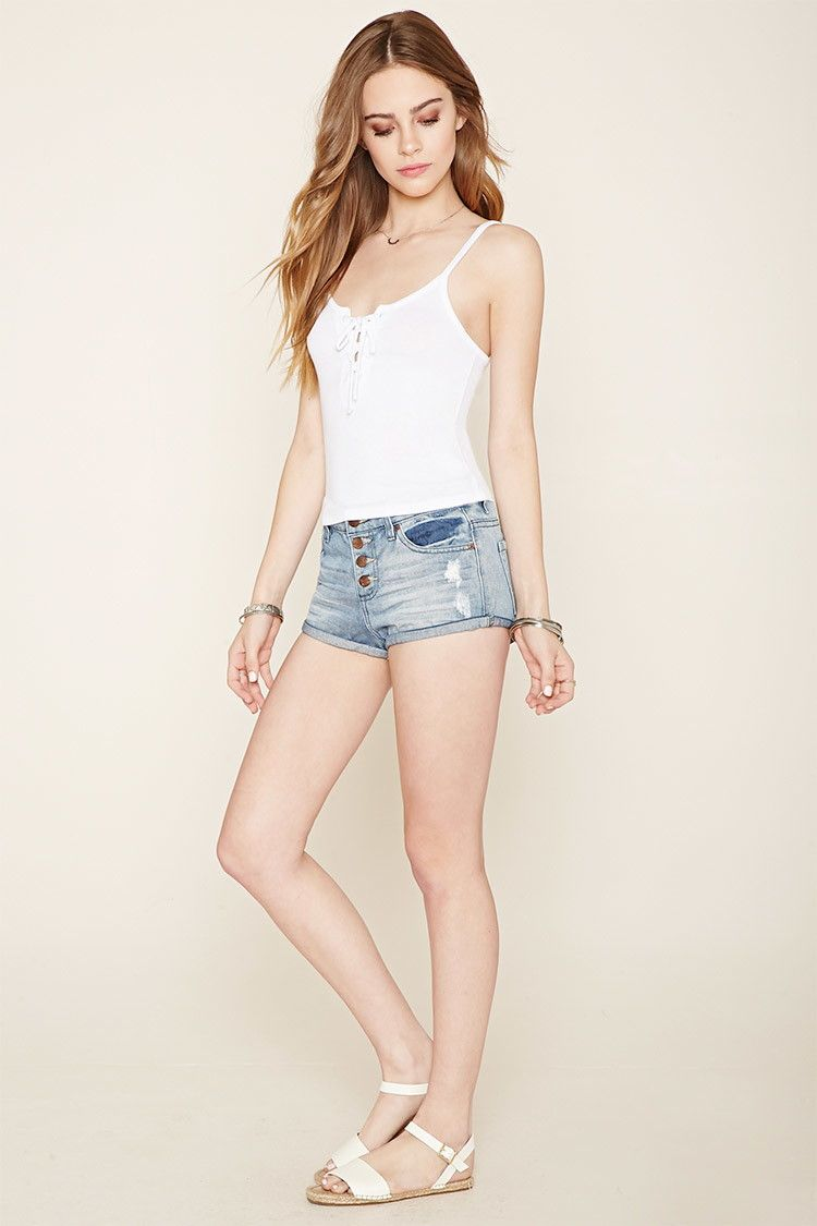 Ribbed Knit Lace-Up Crop Top | Forever 21 - 2000203325
