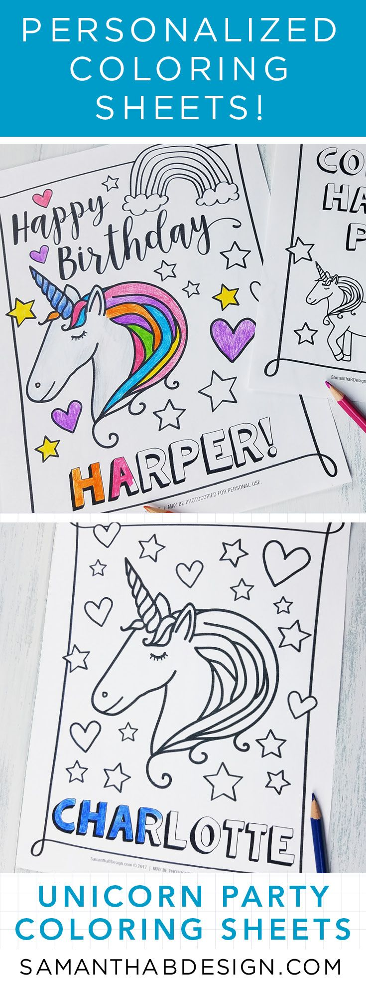 Unicorn Birthday Party Activities / Unicorn Party Coloring Sheets ...