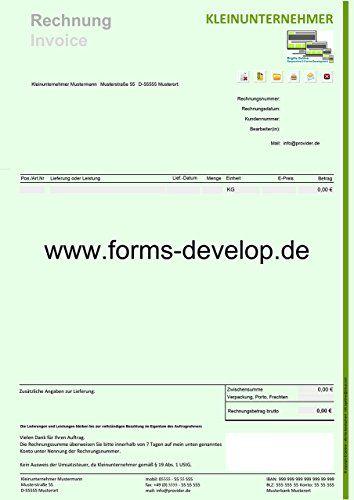 Rechnung Kleinunternehmer PDF Formular A4H Standard E-Forms ...