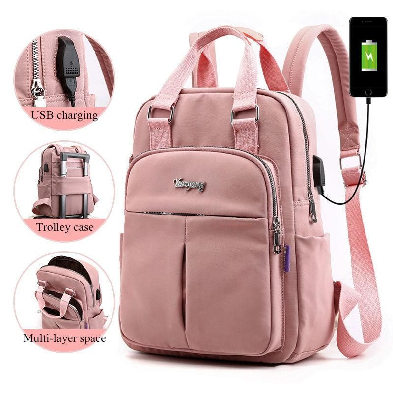 Women External USB Charge Backpack Canvas Backpack Male Mochila Escolar Girls La