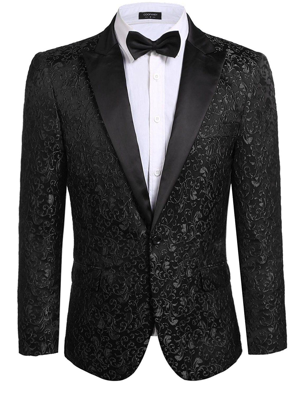 2285e663a6e1 Men's Clothing, Suits & Sport Coats, Men's Floral Party Dress Suit Stylish Dinner  Jacket Wedding Blazer Prom Tuxedo - Black - CZ182WZLIIW #fashion #men ...