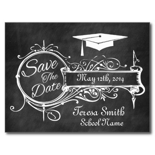 Save The Date Wedding Invitation Ornaments Save The Date: Vintage Ornament & Chalk Graduation Save The Date