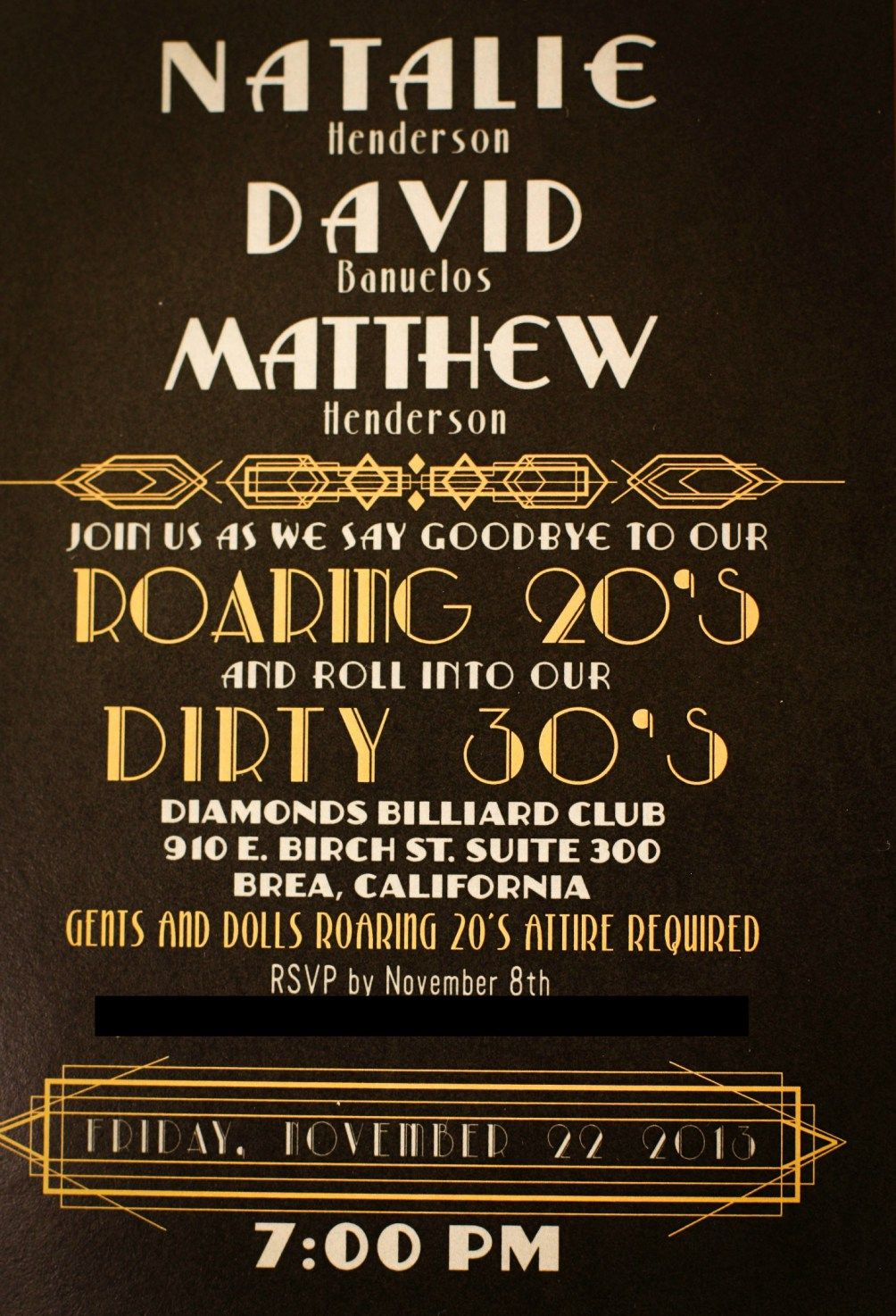 1920s invitation great gatsby pinterest 1920s gatsby and exciting birthday party invitations for adults fascinating invitation card idea feature brown yellow white color scheme and great layout filmwisefo