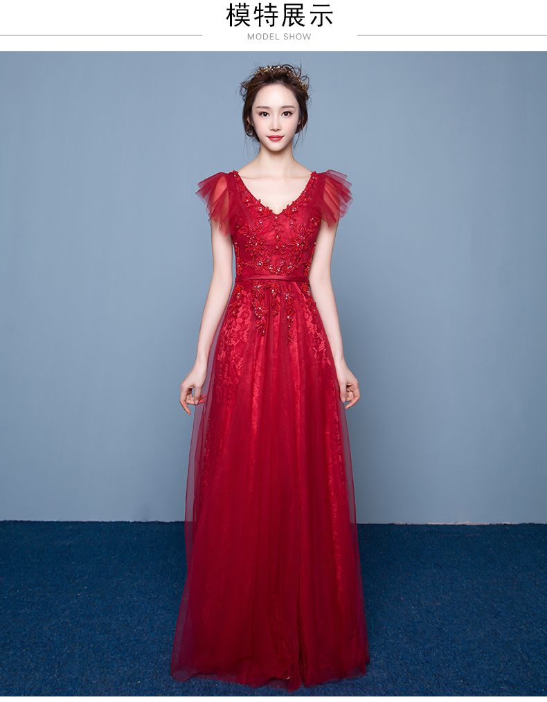 Click to Buy << 100%real wine red flower butteryfly sleeve ball gown ...