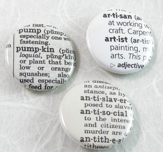 Custom Dictionary Pinback Button - Choose your words and