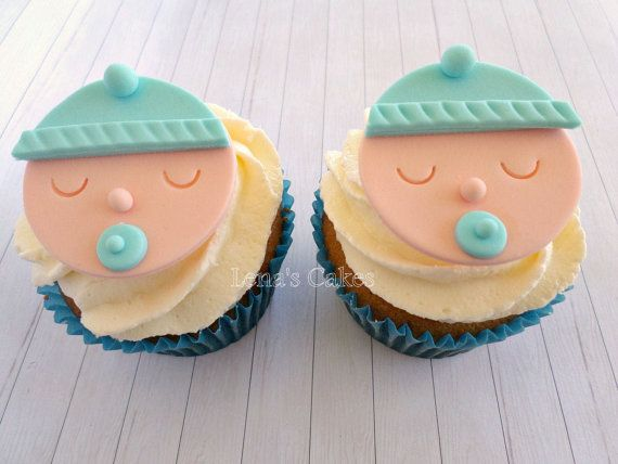 baby boy dusche cupcake fondant toppers menge 1 dutzend 12 st ck design baby boy gesicht. Black Bedroom Furniture Sets. Home Design Ideas