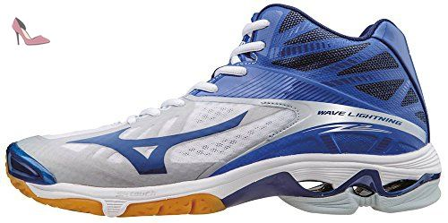 Mizuno Wave Lightning Z2 Mid, Chaussures de Volleyball Homme, Blanc (White/Dazzlingblue/Twilightblue), 45 EU