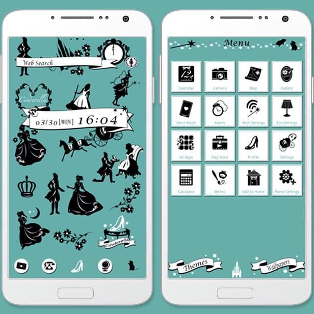 """Cinderella"" 4/8 '15 A Cinderella-based theme featuring cool silhouettes! http://app.android.atm-plushome.com/app.php/app/themeDetail?material_id=1235&rf=pinterest #cute #kawaii #design #girl #fashion #beautiful #cinderella #princess"