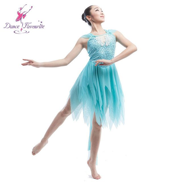 ce9a33c4c 2016 Girls pale blue sequin dress spandex ballet costume performance lyrical  dress stage wear contemporary dance dresses 16033