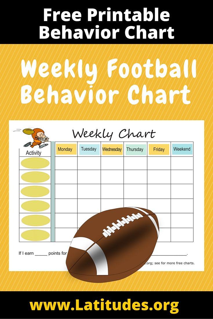 Free Weekly Behavior Chart Football Player  Weekly Behavior