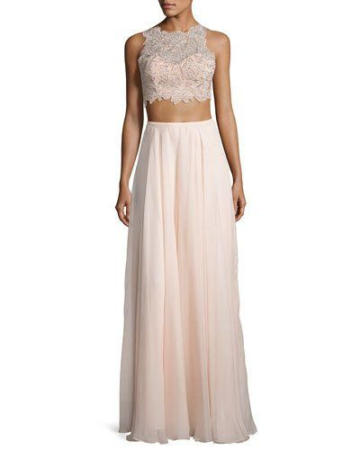bf731bf6436323 Shop Sleeveless Beaded Lace Crop Top w/ Chiffon Skirt, Blush from La Femme  at Neiman Marcus, where you'll find free shipping on the latest in fashion  from ...