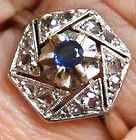 ANTIQUE EDWARDIAN 18K WHITE GOLD ROSE DIAMOND .10CT SAPPHIRE SUPERB Ring c 1900 - 10ct