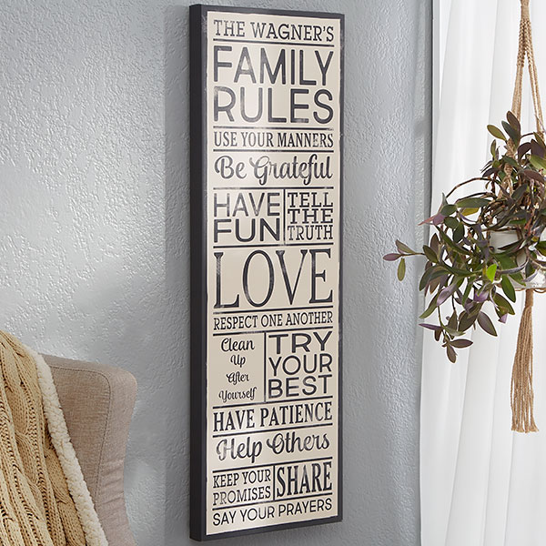 Family Rules Personalized Canvas Print 12x36 Personalized Family Rules Sign Family Rules Sign Family Rules