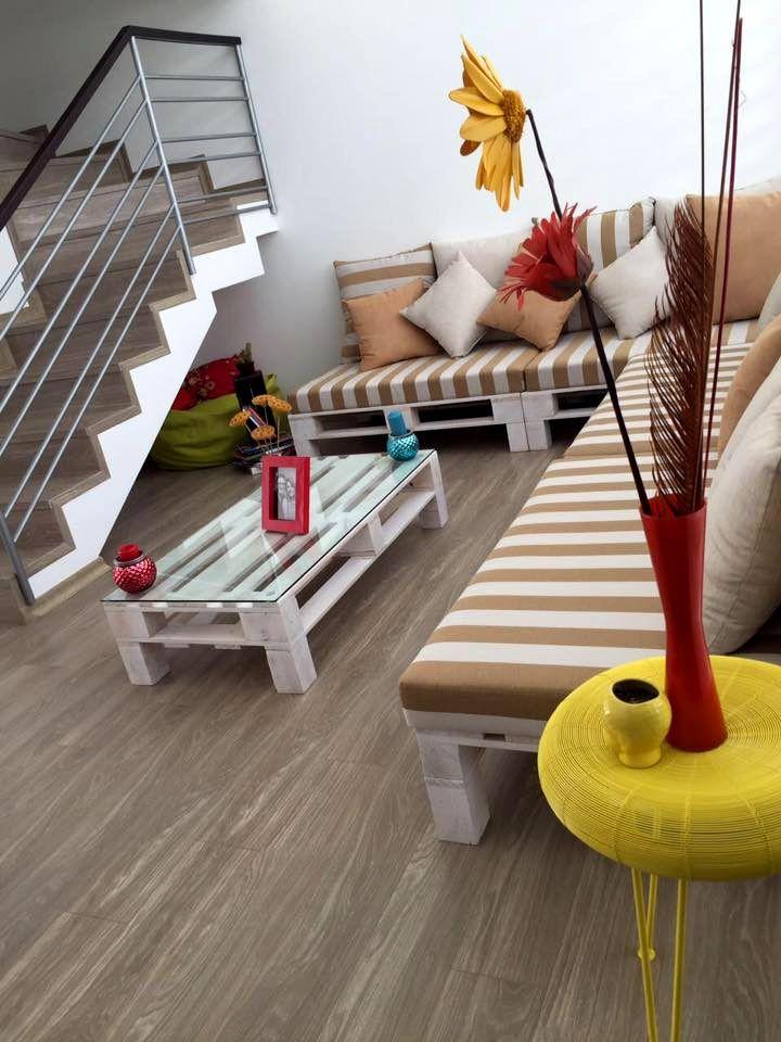 Wooden pallet living furniture