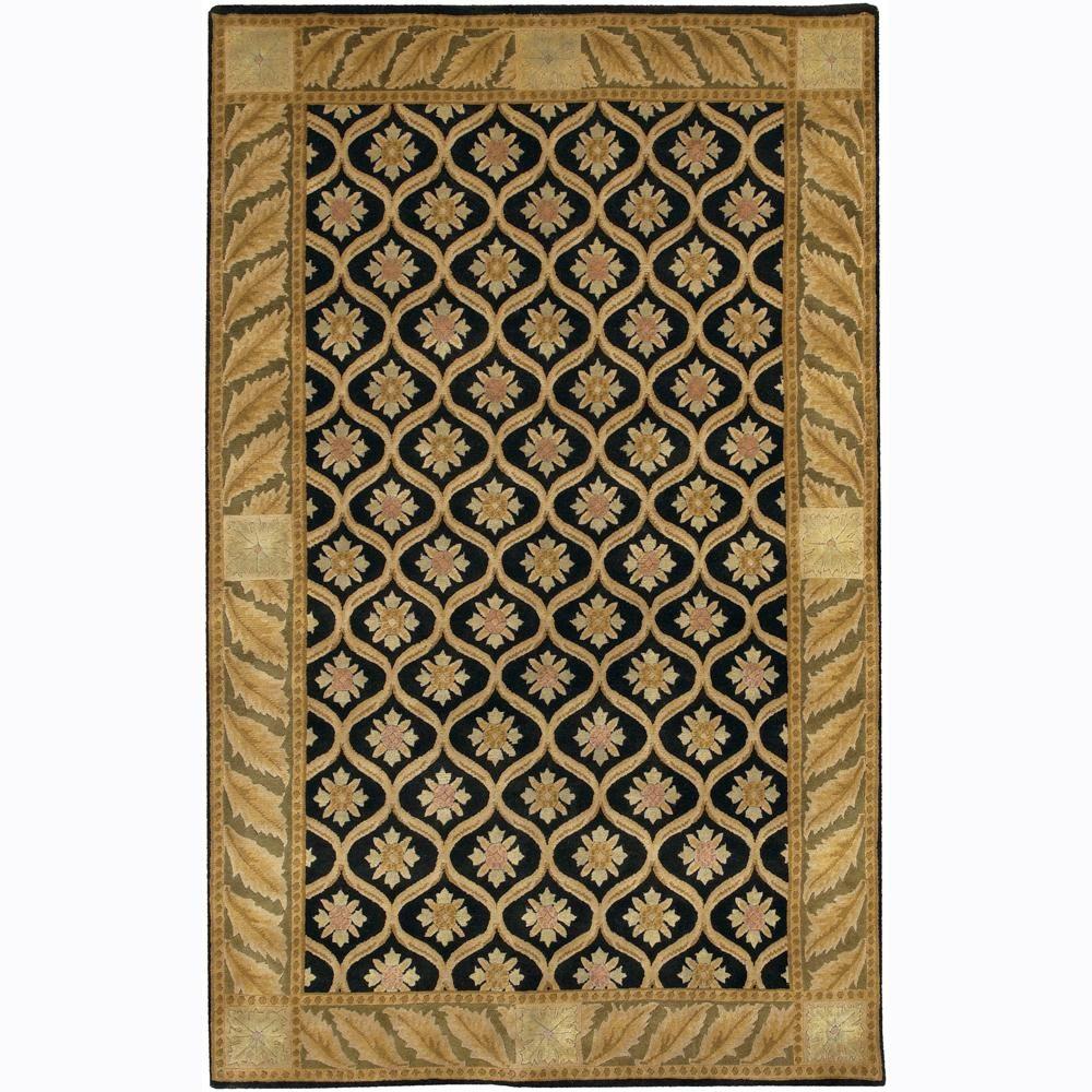 Artist's Loom Hand-Knotted Bordered Mandara Wool Rug