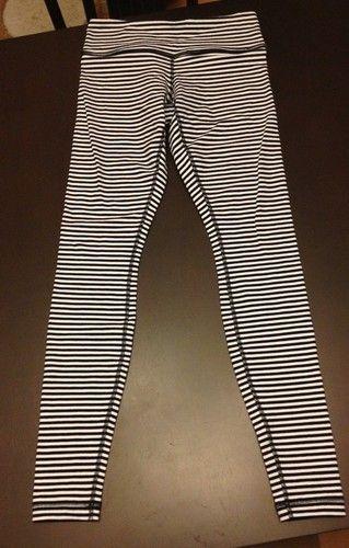 12fa0dd87 Lululemon Classic Stripe Black White Wunder Under Tights Leggings Size 8  New