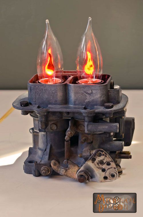 Automobile inspired steampunk lamp by Mechanical Dragon