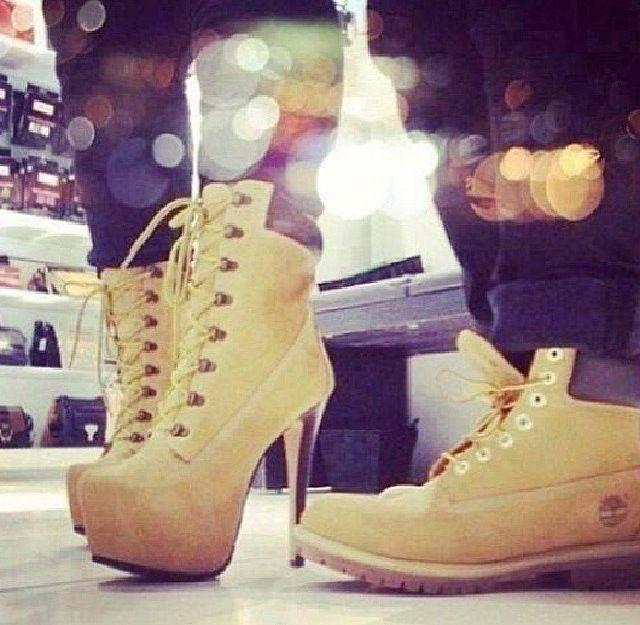 a4d69a6ae21 His & Hers Timberland boots and heels swag fashion couples fashion ...