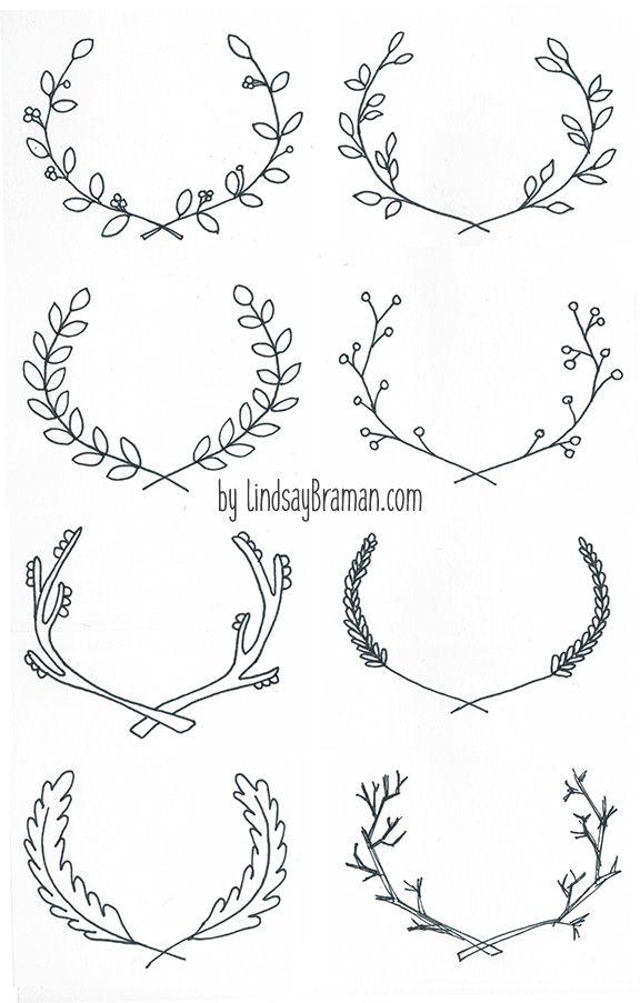 4 Easy Steps to Draw Antlers & Floral Laurel Wreaths
