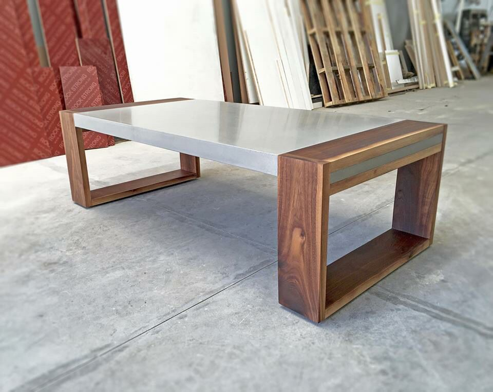 Polished concrete and walnut coffee table projects float concrete furniture Concrete and wood furniture