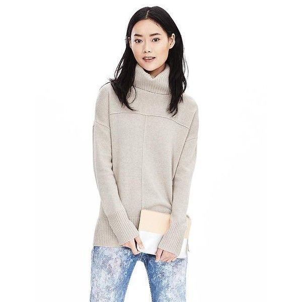 Banana Republic Womens Italian Cashmere Blend Seamed Turtleneck... ($88) ❤ liked on Polyvore featuring tops, sweaters, oatmeal, turtleneck sweater, white pullover, long sleeve sweaters, turtle neck sweater and pullover sweater