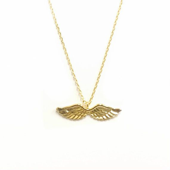 Tiny Gold Angel Wings Necklace Open Wings Angel by AncientBrand
