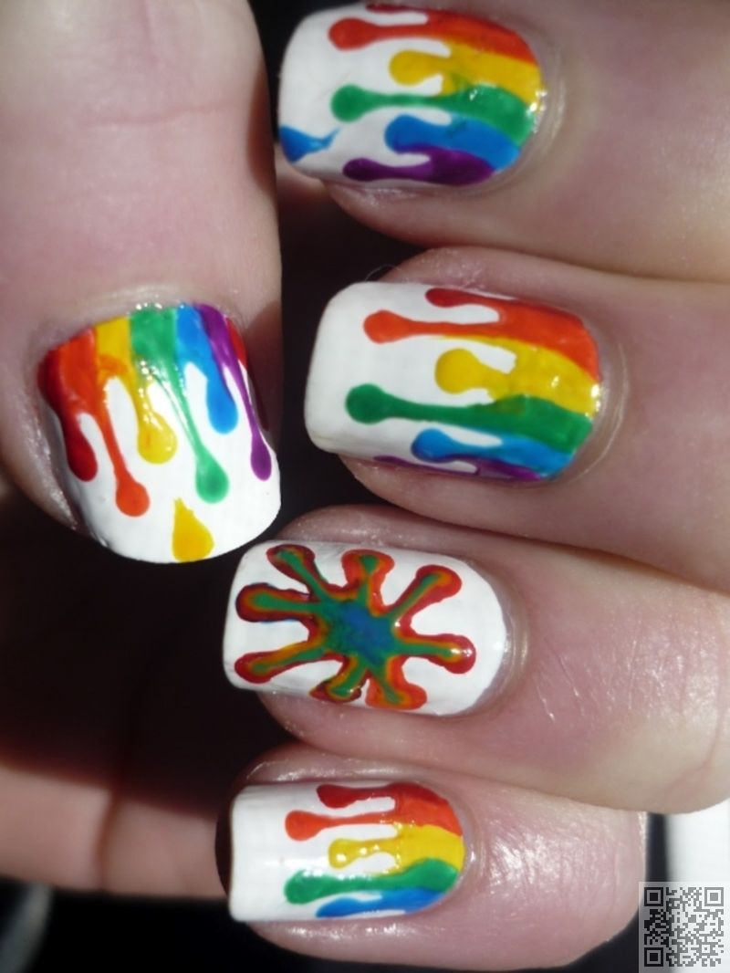 2f24240565a3  Amazing Rainbow  Paint Drips -  Rainbow Nail Art to Make You Smile ... →   Nails  Converse