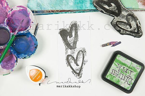 """Mixed media stamp """"two hearts"""" just added to my webshop / 2 sydäntä, sekatekniikkaleimasin, juuri lisätty marikakkSHOP:iin"""