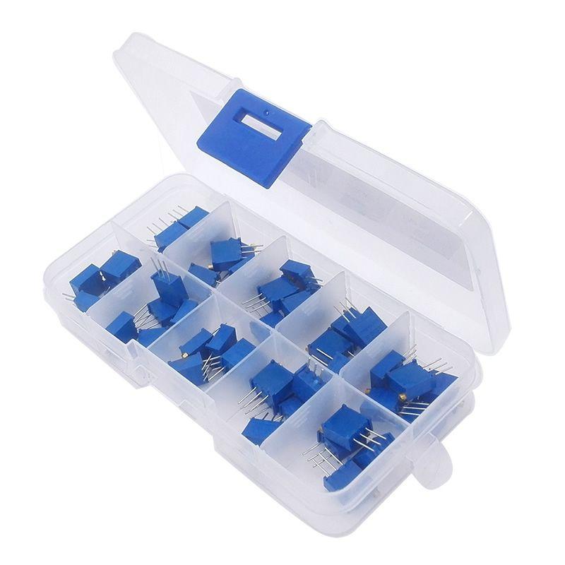 C0003 3296 W Multigiro Trimmer del Potenziometro Kit di Alta Precisione 3296 Resistore Variabile Con Free Box kit fai da te elettronico