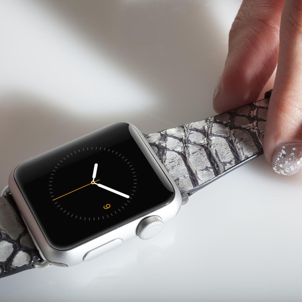 Rebecca Minkoff Snakeskin Band Silver Apple Watch Bands Apple Watch Watch Bands